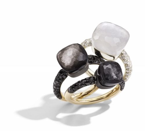 Nudo rings with obsidian and with moonstone by Pomellato